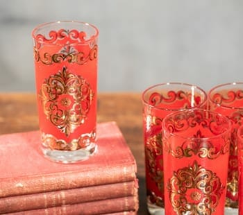 gilded vintage highball glasses