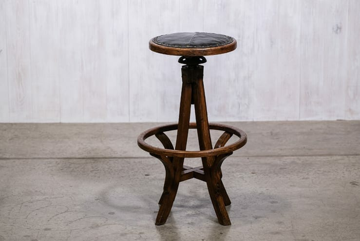 Cool Antique Wooden Architects Drafting Stool With Leather Seat Caraccident5 Cool Chair Designs And Ideas Caraccident5Info