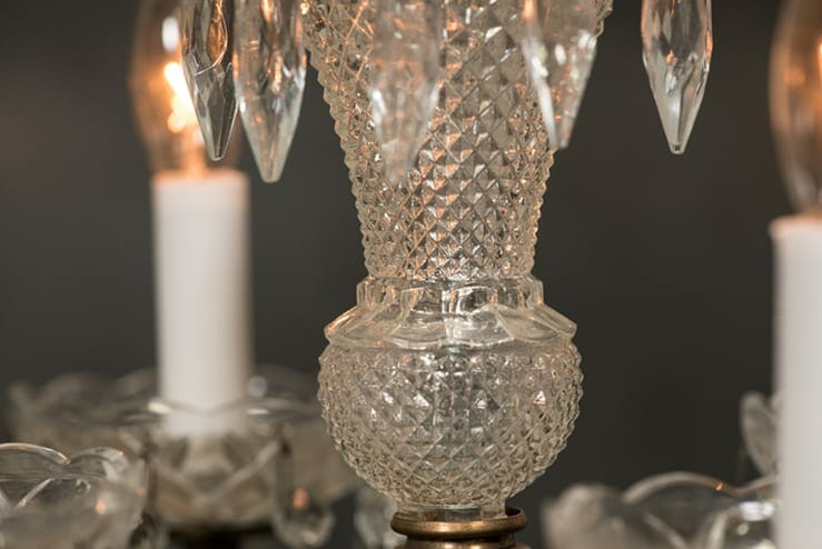 vintage four-arm crystal chandelier