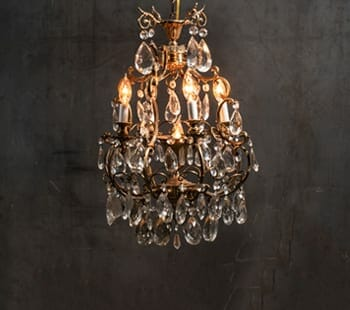 vintage four-arm tendril crystal chandelier