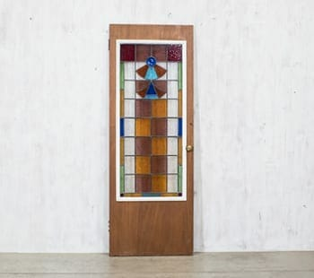 Checkered Stained Glass Door