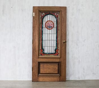 vintage seashell stained glass oak door