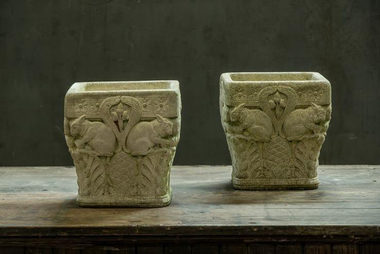 cast concrete figural square planters
