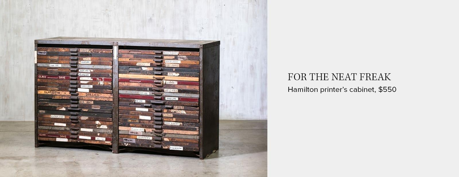 hamilton printer's cabinet