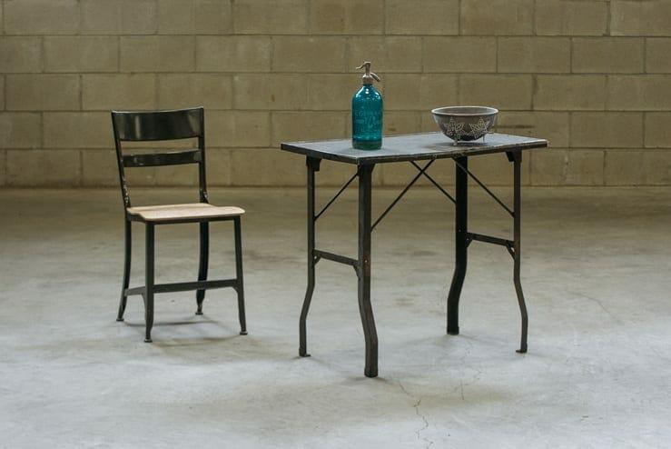 vintage steel folding work table