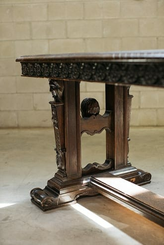 oak vintage library table