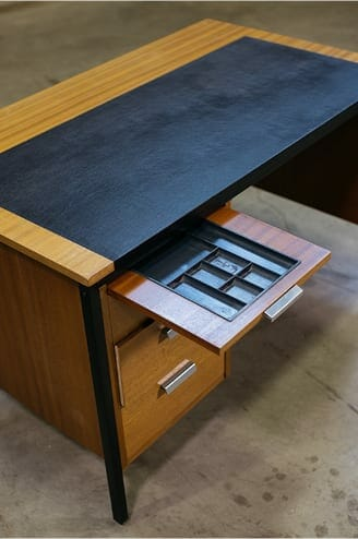 midcentury modern leather-top desk