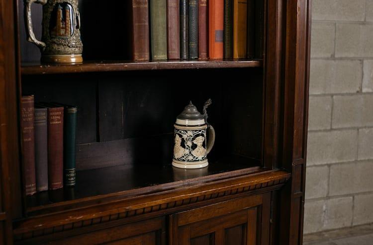 antique finial bookcase