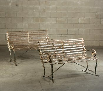 Antique Iron Strap Bench