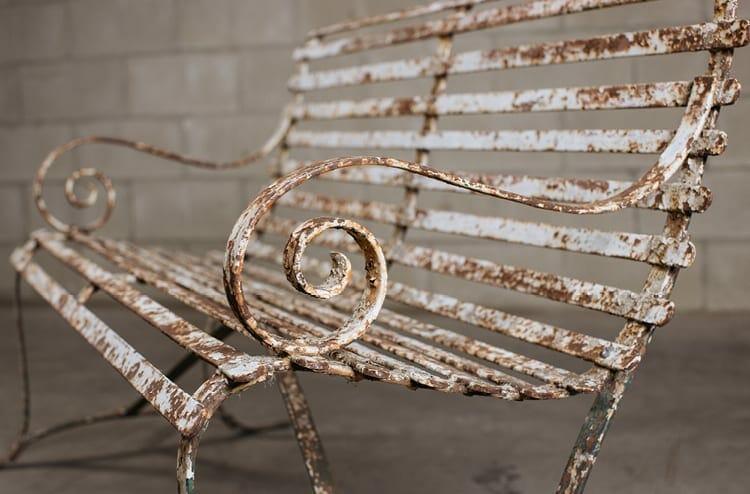 Antique Iron Strap Bench