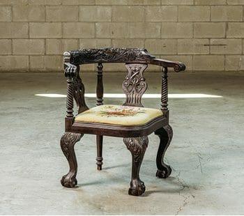 carved vintage corner chair