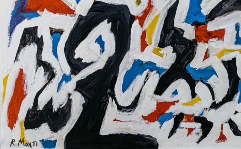 R. Monti abstract oil painting on canvas